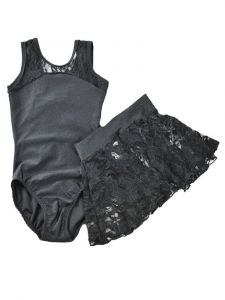 Reflectionz Girls Black Lace Cutout Tank Leotard Skirt  Set 2-8