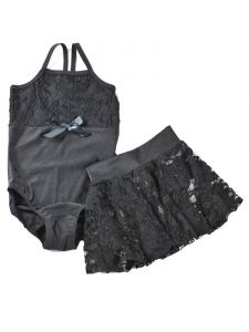 Reflectionz Girls Black Lace Spaghetti Strap Leotard Skirt  Set 2-8