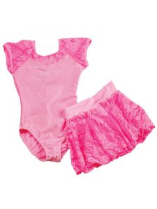 Reflectionz Girls Pink Lace Cap Sleeve Leotard Skirt  Set 2-8