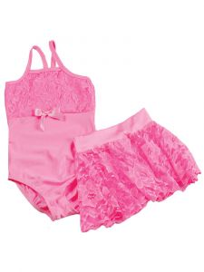 Reflectionz Girls Pink Lace Spaghetti Strap Leotard Skirt  Set 2-8
