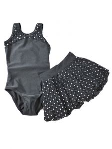 Reflectionz Girls Black Silver Glitter Cap Sleeve Leotard Skirt  Set 2-8