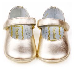 Foxpaws Baby Girls Gold Leather Baby Girl Soft Sole Flat Shoes 3-5 Baby