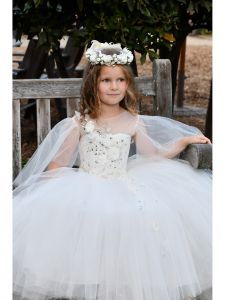 TriumphDress Girls Ivory Lace Multi Layer Tulle Lidia Flower Girl Dress 5-8