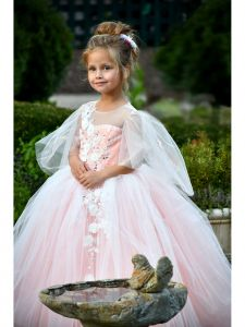 TriumphDress Little Girls Pink Multi Layer Tulle Lidia Flower Girl Dress 3-6