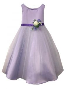 Petite Adele Little Girls Lilac Satin Tulle Flowers Flower Girl Dress 2-6