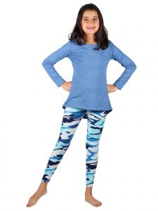 Lori & Jane Big Girls Blue Stripe 2pc Long Sleeve Top Leggings Outfit 6-16