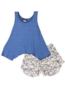 Lori & Jane Big Girls Blue Beige Chevron 2pc Tank Top Shorts Outfit 6-16