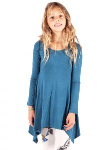 Lori&Jane Big Girls Teal Asymmetric Trendy Tunic Dress 6-14
