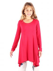 Lori&Jane Big Girls Dark Red Asymmetric Trendy Tunic Dress 6-14