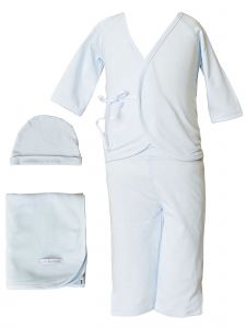 Baby Boys Blue Bamboo 4pc Hat Top Pants Blanket Layette Set 3M-6M