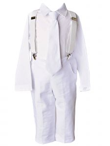 Baby Boys White Linen 4pc Romper Pants Tie Suspenders Christening Outfit 6M
