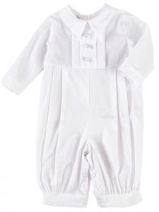 Baby Boys White Pleated Long Sleeve Long Baptism Cotton Coverall Hat Set 0-24M