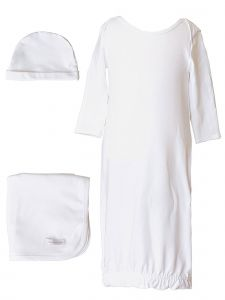 Baby Boys Bamboo 3pc Gown Hat Blanket Layette Set 3M-6M