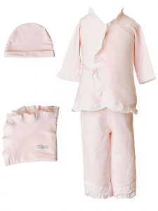 Baby Girls Pink Bamboo 4pc Hat Top Pants Blanket Layette Set 3M-6M