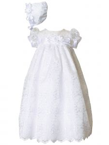 Baby Girls White Floral Satin Trim Short Sleeve Christening Dress Hat Set 0-24M