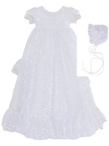Baby Girls White Lace 3pc Christening Gown Bonnet Headband Set NB-24M