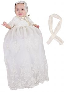 Baby Girls White Embroidered Netting 2pc Christening Gown Shawl Set NB-24M