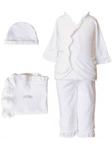 Baby Girls White Bamboo 4pc Hat Top Pants Blanket Layette Set 3M-6M
