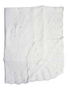 "Baby Girls Boys White Hand Crochet Diamond Pattern Blanket Shawl 49""x39"""