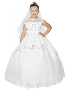 Big Girls White Cap Sleeves Embroidered Beaded Bows Communion Dress 7-18