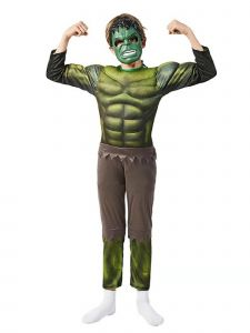 Big Kids Unisex Green The Avengers Hulk Muscle Halloween Costume 3-8