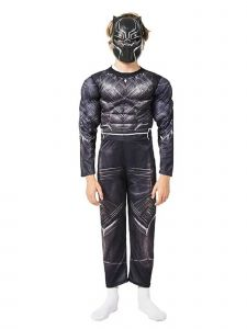 Big Boys Black The Avengers Black Panther Muscle Halloween Costume 3-8