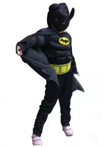 Wenchoice Big Kids Unisex Black Batman Muscle Halloween Costume 3-8