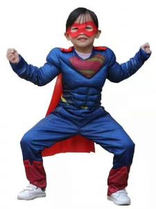 Wenchoice Big Boys Blue Superman Muscle Halloween Costume 3-8