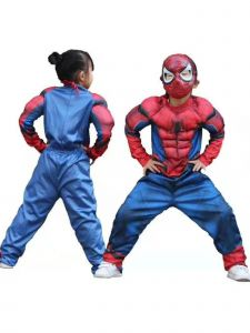 Big Kids Unisex Blue The Avengers Spider-Man Muscle Halloween Costume 3-8