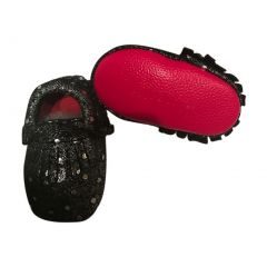 Baby Girls Silver Black Sequins Red Soft Sole Suede Exotic Moccasins 3-18M