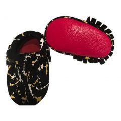 Baby Girls Paintball Red Soft Sole Suede Exotic Moccasin Crib Shoes 3-18M
