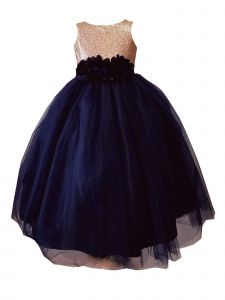 Sinai Kids Big Girls Navy Blue Champagne Sequin Junior Bridesmaid Dress 8-16