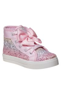 Kensie Girl Pink Glitter Bow Accent High Top Canvas Sneakers 11-4 Kids