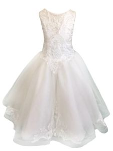 Christie Helene Little Girls White Beaded Lace V Neck Flower Girl Dress 6