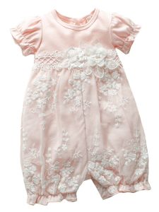 Baby Girls Multi Color Lace Flower Waistline Puff Sleeve Headband Romper 3-24M