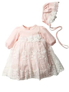 Baby Girls Multi Color Lace Flower Puff Sleeve Bonnet Easter Dress 3-24M
