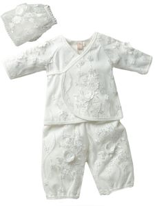 Baby Girls Off White Flower Lace Appliques Kimono Pants Outfit NB-9M