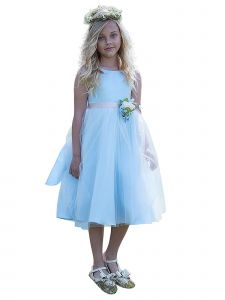 Petite Adele Big Girls Light Blue Dull Satin Tulle Broche Flower Girl Dress 8-12