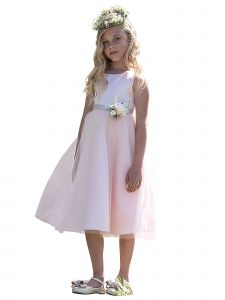 Petite Adele Big Girls Blush Dull Satin Tulle Broche Flower Girl Dress 10