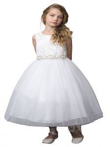 Petite Adele Little Girls White Silk Beaded Rhinestone Belt Flower Girl Dress 2T-6