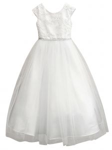 Petite Adele Girls White Sparkle Floral Embroidered First Communion Dress 6-16