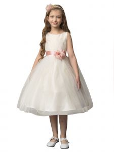 Petite Adele Big Girls Yellow Jacquard Tulle Tea Length Flower Girl Dress 8-12