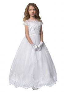 Petite Adele Big Girls White Lace Overlay Short Sleeve Communion Dress 8-16