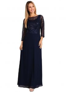Fannny Fashion Women Multi Color Sequin Lace Floor Length Evening Dress S-4XL