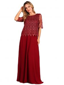 Fanny Fashion Womens Burgundy Crochet Lace Overlay Evening Gown M-4XL