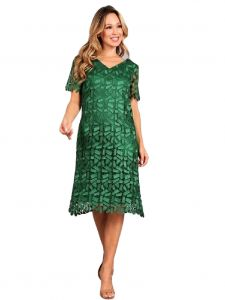 Fanny Fashion Women Emerald Crochet Lace Short Sleeve Midi Dress M-4XL