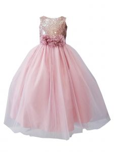 Sinai Kids Big Girls Pink Rose Sequin Tulle Junior Bridesmaid Dress 14
