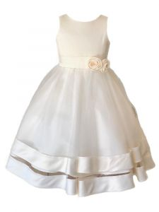 Princess Kloset Little Girls Ivory Satin Tulle Overlay Flower Girl Dress 2T-6
