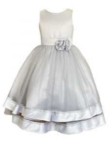 Princess Kloset Big Girls Silver Satin Tulle Overlay Junior Bridesmaid Dress 8-12