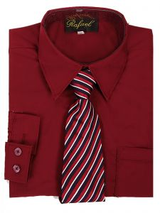 Rafael Big Boys Burgundy Long Sleeve Dress Shirt Stripe Tie Set 10